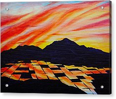 Acrylic Print featuring the painting Sunset On Rice Fields by Michele Myers