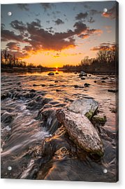 Sunset On River Acrylic Print