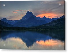Sunset On Swiftcurrent Lake Acrylic Print by Darlene Bushue
