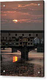 Sunset On The Arno River Acrylic Print by Melany Sarafis