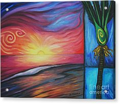 Acrylic Print featuring the painting Sunset On The Beach And Nikau Palm by Dianne  Connolly