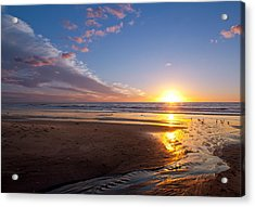 Sunset On The Beach At Carlsbad. Acrylic Print by Melinda Fawver