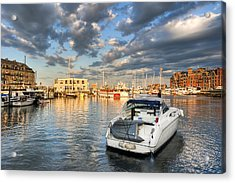 Sunset On The Boston Waterfront Acrylic Print by Mark E Tisdale