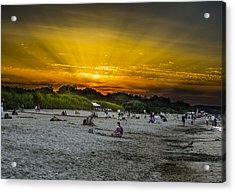 Sunset On The Crowded Beach Acrylic Print by Adam Budziarek