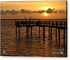 Sunset On The Dock Acrylic Print by Peggy Hughes