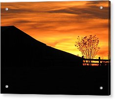 Sunset On The Farm Acrylic Print by Greg Simmons