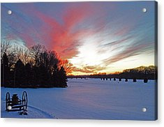 Sunset On The Golf Course Acrylic Print by Dan  Meylor