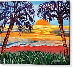Acrylic Print featuring the painting Sunset On The Gulf by Ecinja Art Works