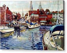 Sunset On The Harbor Acrylic Print
