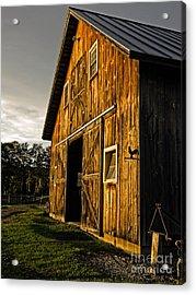 Sunset On The Horse Barn Acrylic Print by Edward Fielding