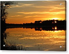 Sunset On The Lake Acrylic Print by Cynthia Guinn