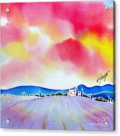 Sunset On The Lavender Farm  Acrylic Print
