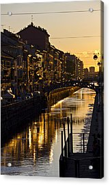 Sunset On The Navigli In Milan Acrylic Print
