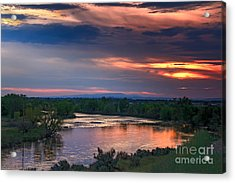 Sunset On The Payette  River Acrylic Print by Robert Bales