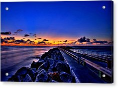 Acrylic Print featuring the painting Sunrise On The Pier by Bruce Nutting