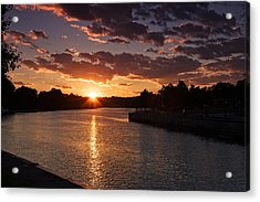 Sunset On The River Acrylic Print by Dave Files