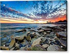 Sunset On The Rocks Acrylic Print by Anna-Lee Cappaert