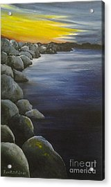 Sunset On The Rocks  Acrylic Print by Roni Ruth Palmer