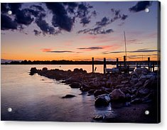 Sunset On The Rocks - Stonington Point Acrylic Print
