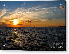 Sunset On The Water In Provincetown Acrylic Print by Eleanor Abramson
