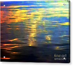 Acrylic Print featuring the digital art Sunset On Water by Dale   Ford