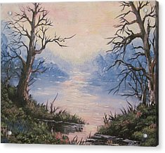 Acrylic Print featuring the painting Sunset On Water by Megan Walsh