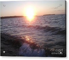 Sunset On Waves Acrylic Print
