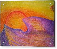 Sunset On Wavy Mountains Detail Of Sun Acrylic Print