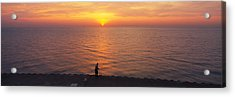Sunset Over A Lake, Lake Michigan Acrylic Print by Panoramic Images