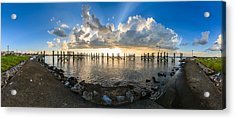 Sunset Over A Lake, Lake Pontchartrain Acrylic Print by Panoramic Images