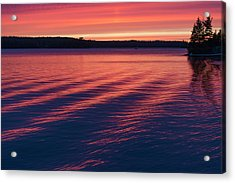 Sunset Over A Lake Reflecting Pink Acrylic Print by Keith Levit