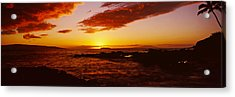 Sunset Over An Ocean, Oahu, Hawaii, Usa Acrylic Print by Panoramic Images