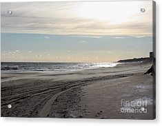 Sunset Over Atlantic Ocean In Montauk Acrylic Print by John Telfer