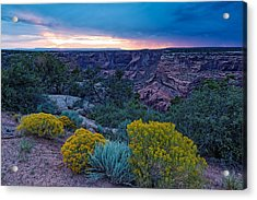 Sunset Over Black Mesa At Canyon De Chelly Acrylic Print