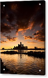 Sunset Over Detroit Acrylic Print by Cale Best