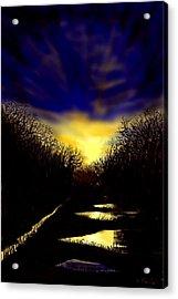 Sunset Over Disused Railway Tracks Acrylic Print