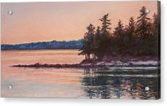 Sunset Over Emerald Point Lake Sebago Maine    Acrylic Print