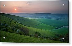 Sunset Over English Countryside Escarpment Landscape Acrylic Print by Matthew Gibson