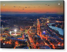 Sunset Over Fenway Park And The Citgo Sign Acrylic Print by Joann Vitali