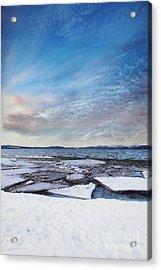 Sunset Over Frozen Lake Acrylic Print