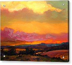 Sunset Over Green Mountains Acrylic Print by Savlen Art