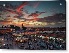 Sunset Over Jemaa Le Fnaa Square In Marrakech, Morocco Acrylic Print