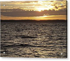 Sunset Over Lake Cazaux Acrylic Print by Tony Serzin