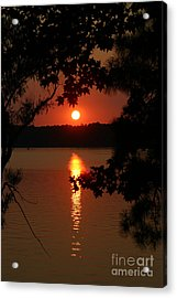 Sunset Over Lake Acrylic Print by D Wallace