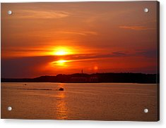 Sunset Over Lake Ozark Acrylic Print by Cricket Hackmann