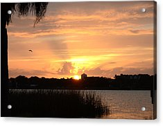 Sunset Over Lake Semniole Acrylic Print by Julie Cameron