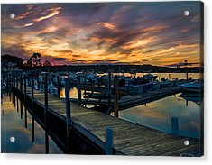 Sunset Over Marina On Mystic River Acrylic Print