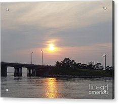Sunset Over Meadowbrook Bridge Acrylic Print by John Telfer