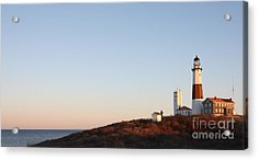 Sunset Over Montauk Lighthouse Acrylic Print by John Telfer