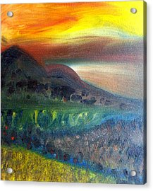 Sunset Over Mountains  Acrylic Print by Michaela Kraemer